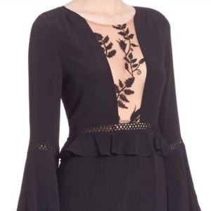 For Love and Lemons, Lace Accented Romper, Blk, SM